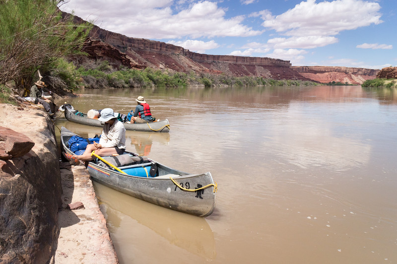 Lunch on the river before our hike up to a petroglyph panel above the Turk's Head formation