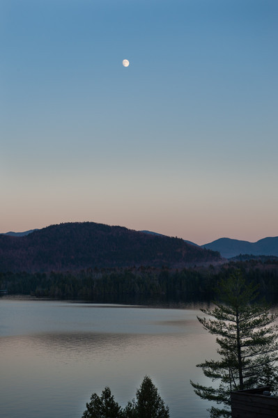 Almost a full moon over Lake Placid.