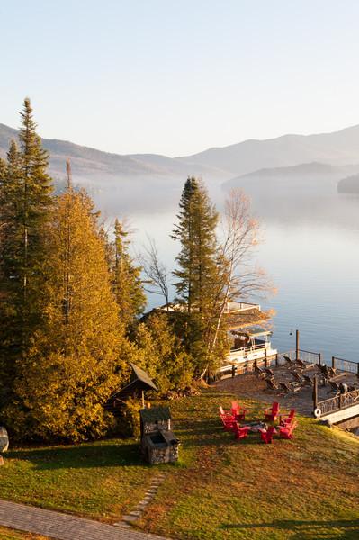 Sunrise with a misty lake