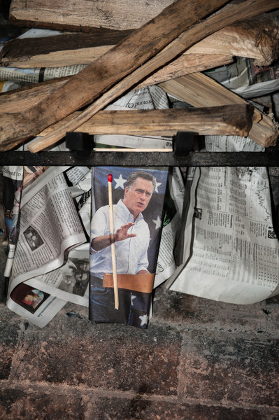 Some staff member having some fun with politcs. Mitt burned as the fire was lit for some Smores.