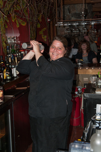 Lori, the bartender at Maggie's Pub. She was our saviour with the drinks. Keep them coming. A secret, she taps her foot 7 times to coincide with the shaken drinks. She always shakes righthanded.