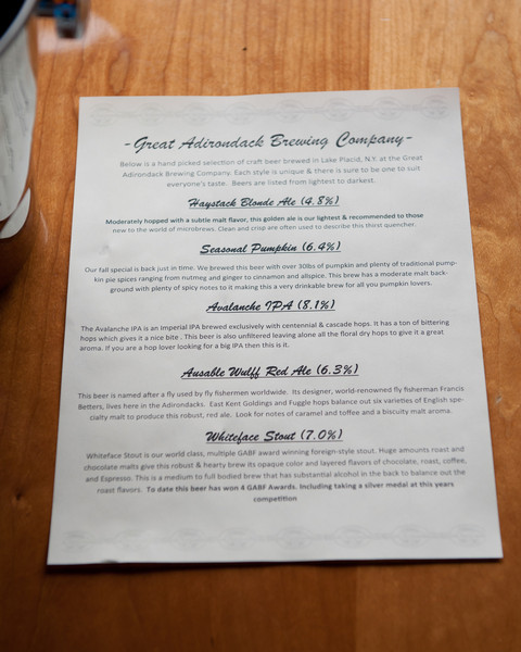 Great Adirondack Brewing Company menu for the beer tasting.