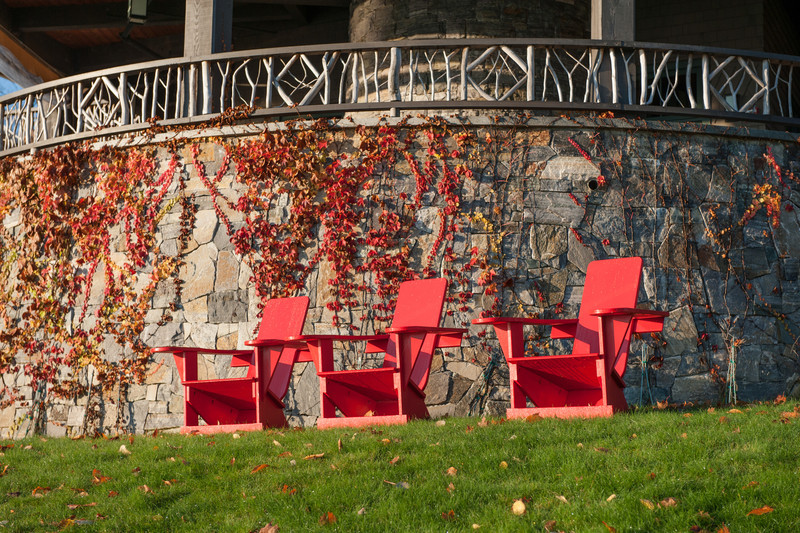 The classic Adirondack chair. In red to match the Virginia Creeper.