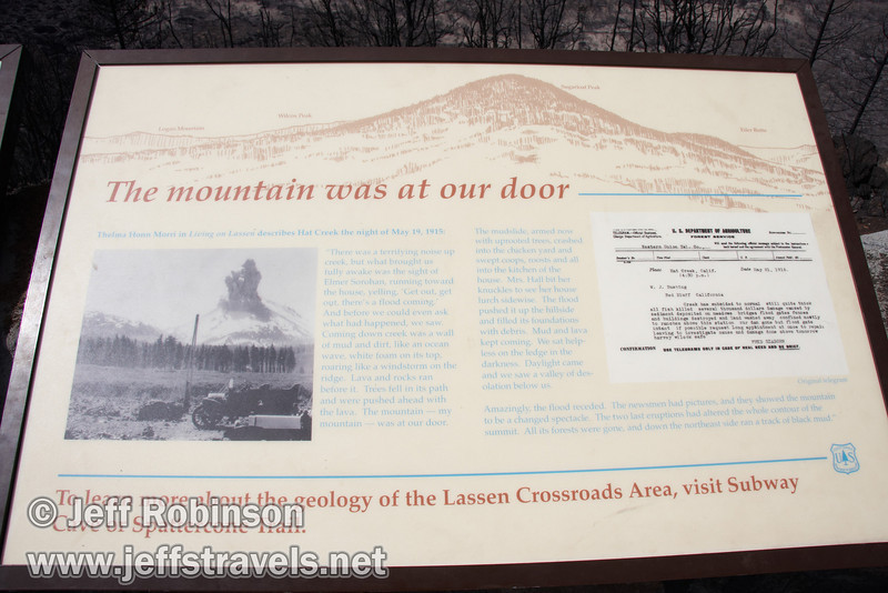 """""""The mountain was at our door"""" sign. Vista mountain identification on top. (9/6/2009, Hat Creek Rim Vista Point, near 44/89 junction)"""