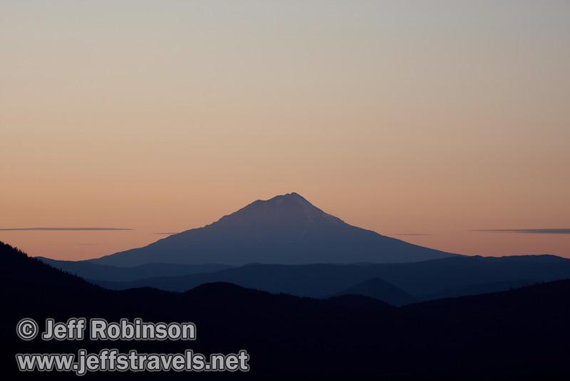 Pinkish haze around Mount Shasta at sundown (9/6/2009, Hat Creek Rim Vista Point, near 44/89 junction)