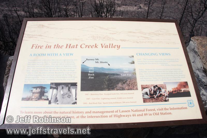 """Fire in the Hat Creek Valley"" sign. Vista mountain identification on top. (9/6/2009, Hat Creek Rim Vista Point, near 44/89 junction)"