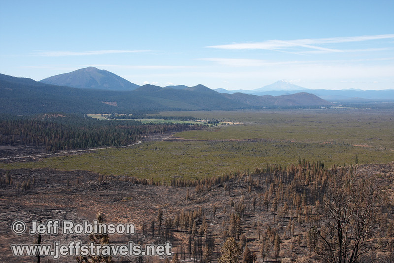 Burney Mountain (left) and Mount Shasta (distant right) with the recent burn near highway 89 evident in the foreground (9/6/2009, Hat Creek Rim hike, Pacific Crest Trail near 44/89 junction)
