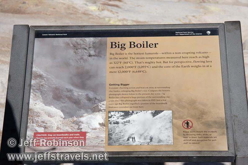"""""""Big Boiler"""" sign at Bumpass Hell (9/7/2009, Bumpass Hell Trail, Lassen NP)"""