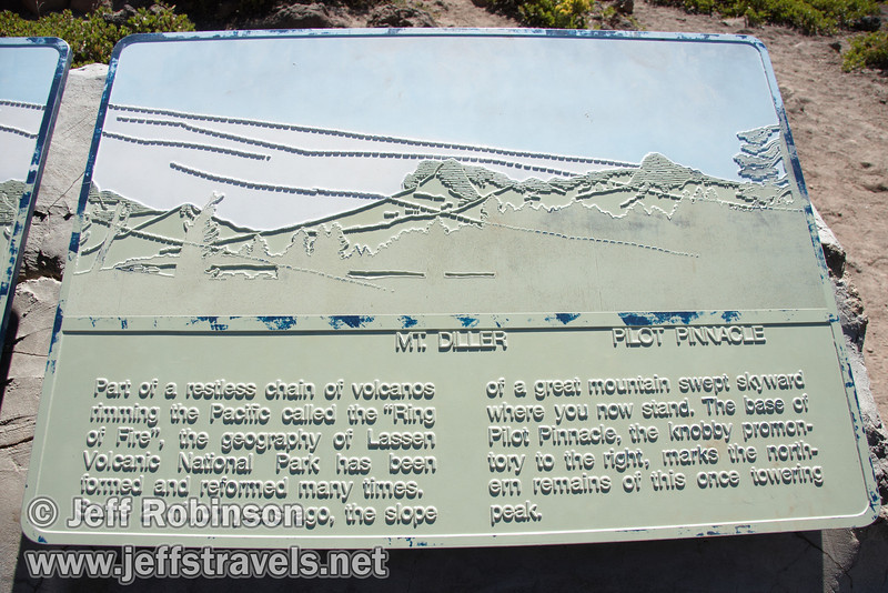 Sign describing Mt. Tehma and giving a profile map of the peaks visible from the vista viewpoint on the trail (9/7/2009, Bumpass Hell Trail, Lassen NP)