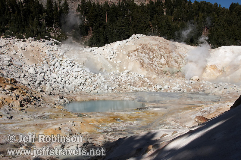 Yellow sulfur on the ground, a milky blue pool, and steam plumes rising from vents at Bumpass Hell (9/7/2009, Bumpass Hell Trail, Lassen NP)