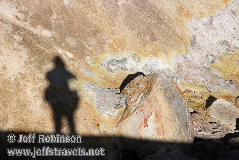 Self shadow portrait against white & yellow geothermal ground (9/7/2009, Bumpass Hell Trail, Lassen NP)