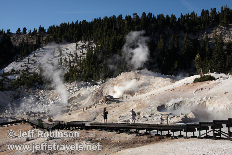 People on the Bumpass Hell boardwalk, with Bumpass Hell and its rising steam. Photographed from the trail to Cold Boiling Lake (9/7/2009, Bumpass Hell Trail, Lassen NP)