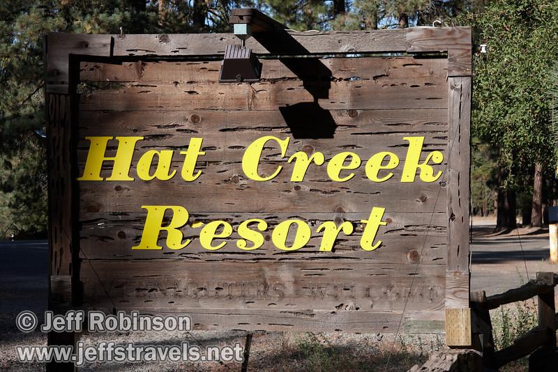 Sign for Hat Creek Resort (9/8/2009, Hat Creek Resort & RV Park, Lassen NF)