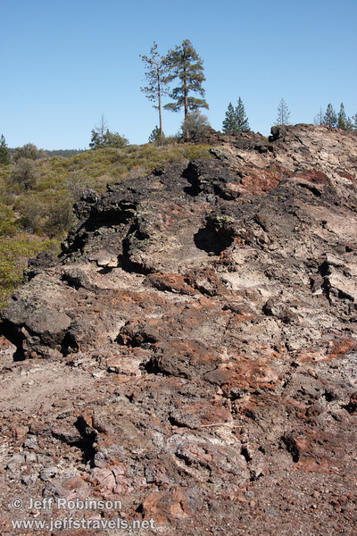 Reds in the lava at the end of Beaut Cone at marker 9, with trees and green brush in the background (9/8/2009, Spatter Cones Nature Trail, Lassen NF)