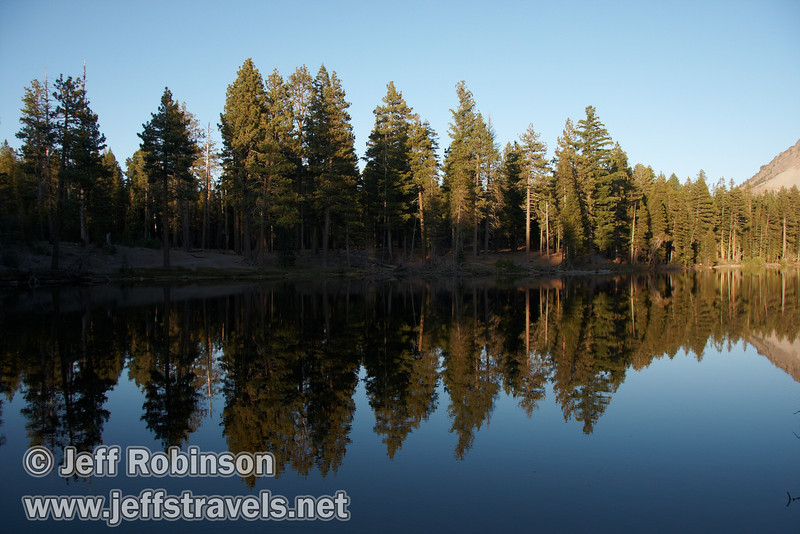 Late sun on trees and their reflection in the lake (9/8/2009, Reflection Lake, Lassen NP)