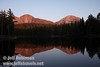 Setting sun on Chaos Crags (L) and Lassen Peak (R) with their reflection in the lake (9/8/2009, Reflection Lake, Lassen NP)