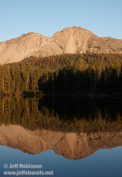 Late sun on Chaos Crags with its reflection (9/8/2009, Reflection Lake, Lassen NP)