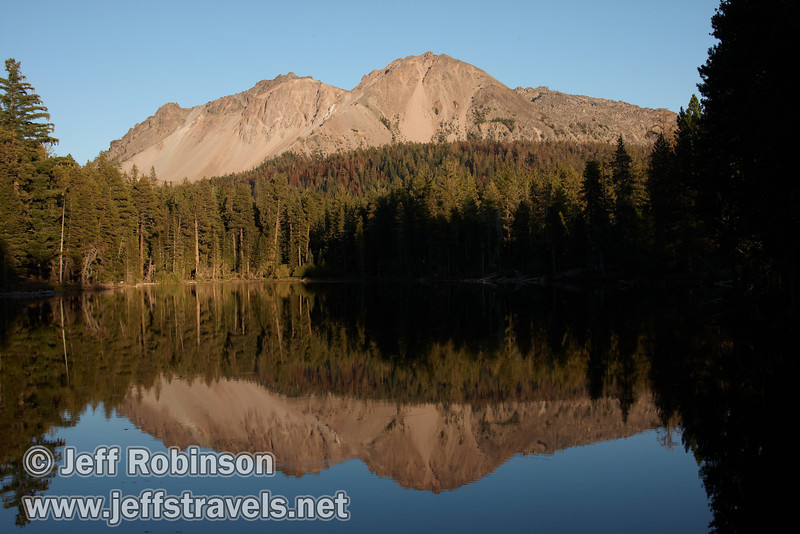 Chaos Crags and trees reflected in the lake (9/8/2009, Reflection Lake, Lassen NP)