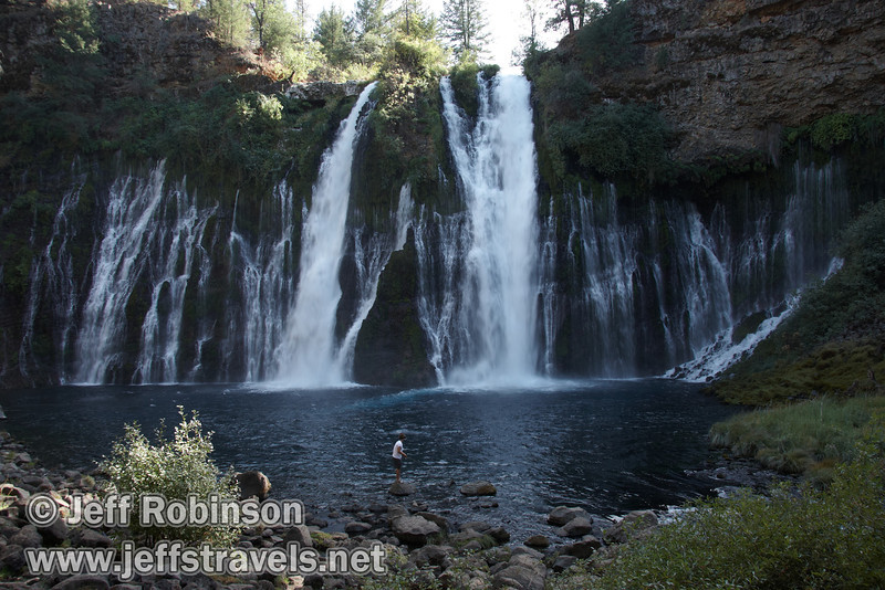 Burney Falls with fishermen from the bottom of trail leading down to the base of the falls (9/9/2009, Burney Falls SP)