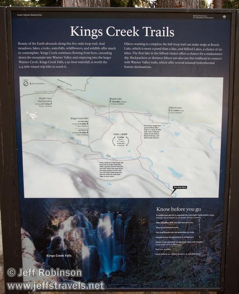 Kings Creek Falls trail area sign (9/10/2009, Kings Creek Falls hike, Lassen NP)