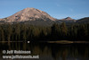 Lassen Peak over Manzanita Lake, with a fishing boat on the lake (9/10/2009, Manzanita Lake, Lassen NP)