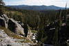 A wide view down the cascades on Kings Creek along with the surrounding valley and mountain line, seen from the Cascade view point (9/10/2009, Kings Creek Falls hike, Lassen NP)