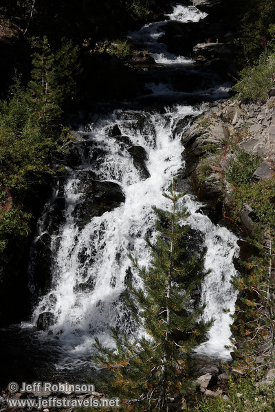 View up a sunlit cascade. Near where the horse trail joins up with the main trail near the falls. (9/10/2009, Kings Creek Falls hike, Lassen NP)