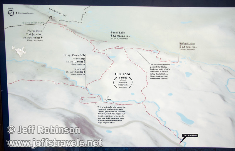 Map for Kings Creek Falls trail area (9/10/2009, Lassen NP)