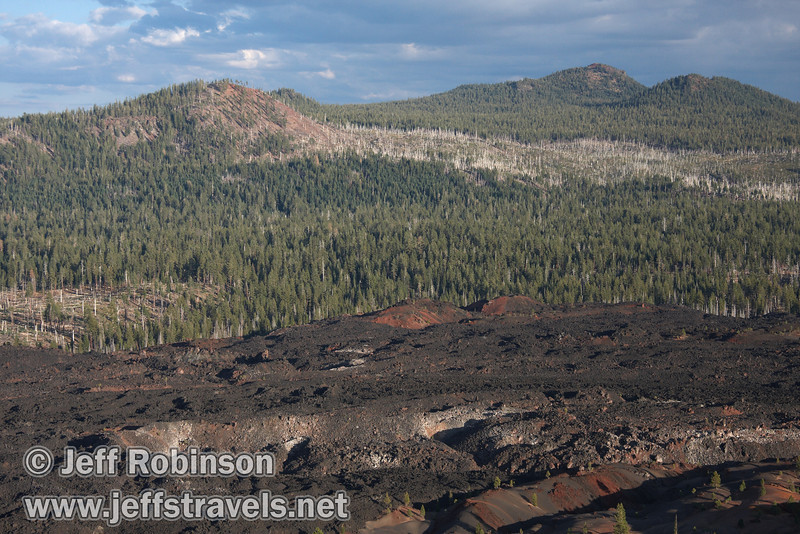 The Painted Dunes in front of the Fantastic Lava Beds with mountains behind (9/11/2009, Cinder Cone hike, Lassen NP)