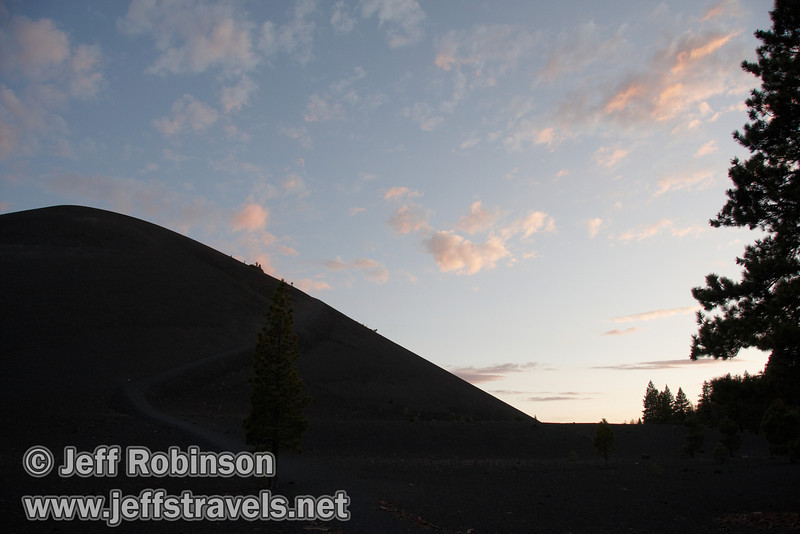 Sunset colors over Cinder Cone, seen from the trail junction on the north side of the base of Cinder cone (9/11/2009, Cinder Cone hike, Lassen NP)