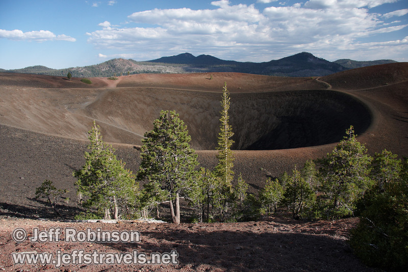 The trees and trail system on the top of Cinder Cone, with some cloud shadow (9/11/2009, Cinder Cone hike, Lassen NP)