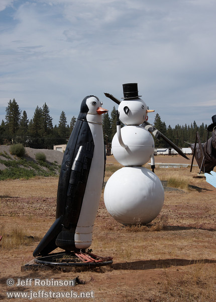 Penguin and Snow Man (9/12/2009, sculptures at Packway Materials Inc., 22246 Cassel Rd. Cassel, CA)