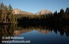 Lassen Peak (R) and part of Chaos Crags (L) with their reflection (9/8/2009, Reflection Lake, Lassen NP)
