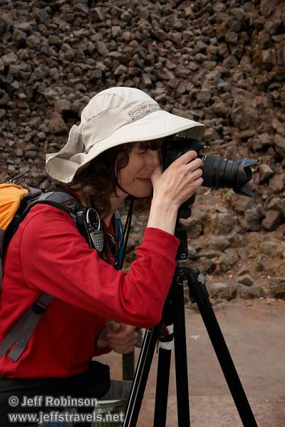Lynda with her camera on a tripod on the loop trail bridge over Burney Creek (9/9/2009, Burney Falls Loop Trail, Burney Falls SP)