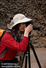 Lynda with her camera on a tripod on the loop trail bridge over Burney Creek (9/9/2009, Burney Falls Loop Trail, Burney Falls SP)