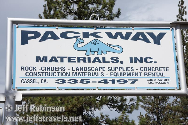 Sign for Packway Materials Inc., 22246 Cassel Rd. Cassle, CA(9/12/2009, sculptures at Packway Materials Inc., 22246 Cassel Rd. Cassel, CA)