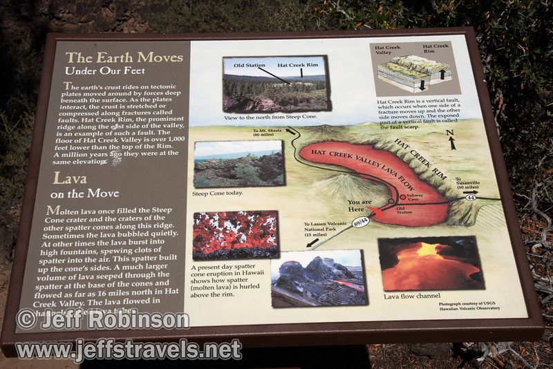 Sign describing the geologic features at Deep Cone at marker 10 (9/8/2009, Spatter Cones Nature Trail, Lassen NF)