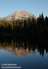 Lassen Peak and the lake's tree line with their reflection (9/8/2009, Reflection Lake, Lassen NP)
