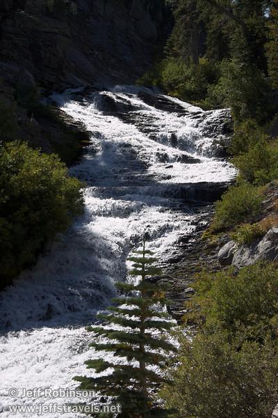 View up a long sunlit cascade on Kings Creek (9/10/2009, Kings Creek Falls hike, Lassen NP)