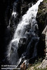 The bottom portion of the mostly sunlit Kings Creek Falls. Seen from the railing near the top. (9/10/2009, Kings Creek Falls hike, Lassen NP)