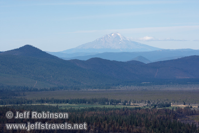 Mount Shasta through the haze. The recent burn around highway 89 is evident in the foreground. (9/6/2009, Hat Creek Rim Vista Point, near 44/89 junction)