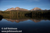 Lassen Peak (R) and Chaos Crags (L) reflected in Manzanita Lake (9/10/2009, Manzanita Lake, Lassen NP)