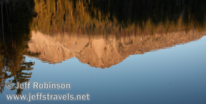 Reflection of late sun on Chaos Crags with ripples (9/8/2009, Reflection Lake, Lassen NP)