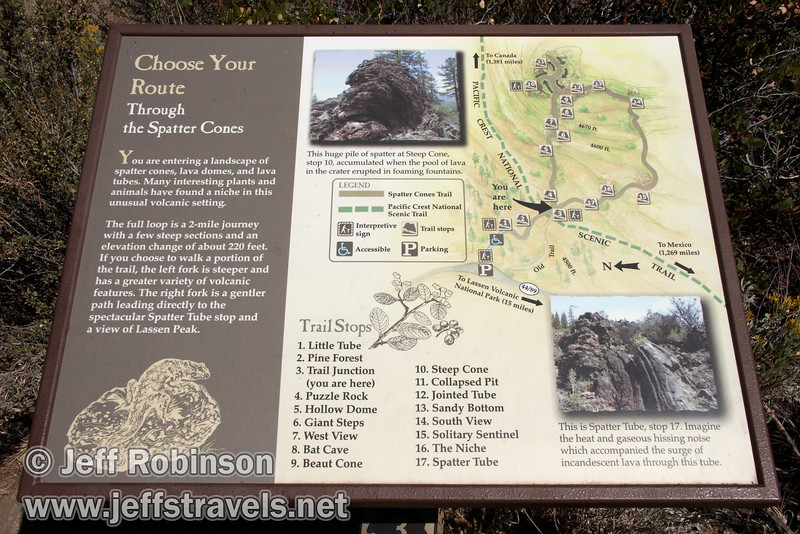 Sign with Spatter Cone Trail map, describing the nature trail and its stops (9/8/2009, Spatter Cones Nature Trail, Lassen NF)