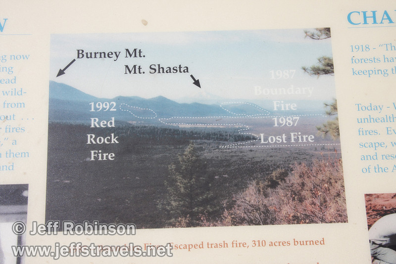 """Close up of photo showing historical fire areas on the """"Fire in the Hat Creek Valley"""" sign. Vista mountain identification on top. (9/6/2009, Hat Creek Rim Vista Point, near 44/89 junction)"""