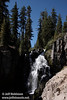 Wide view of the mostly sunny Kings Creek Falls. Seen from about half-way down to the base of the falls. (9/10/2009, Kings Creek Falls hike, Lassen NP)