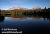 Chaos Crags (L) and Lassen Peak (R) reflected in Manzanita Lake (9/10/2009, Manzanita Lake, Lassen NP)