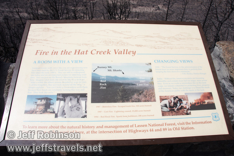 """Fire in the Hat Creek Valley"" sign. Vista mountain identification on top. (9/6/2009, Hat Creek Rim Vista Point, near 44/89 junction)"