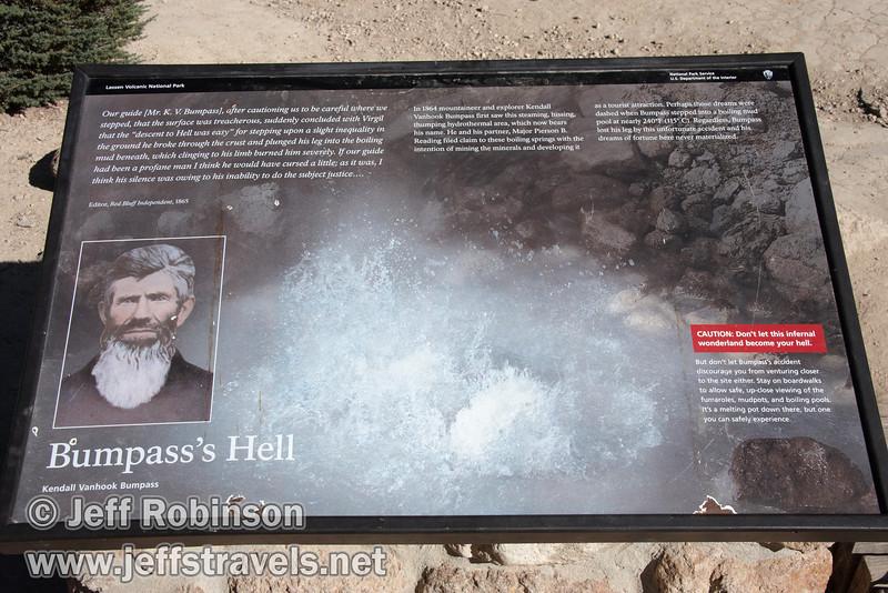 Sign describing how Bumpass Hell got its name (9/7/2009, Bumpass Hell Trail, Lassen NP)