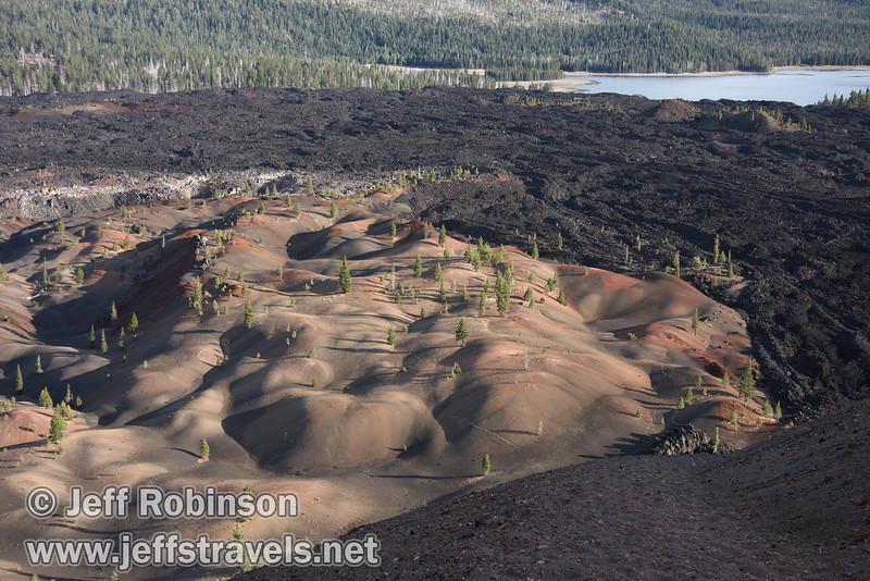 The Painted Dunes in front of the Fantastic Lava Beds, with Snag Lake in the background (9/11/2009, Cinder Cone hike, Lassen NP)